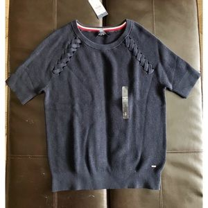 NWT Tommy Hilfiger Short Sleeve Knit Sweater Navy